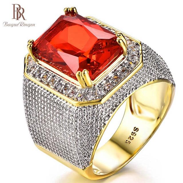 Bague Ringen Luxury 100% เงินสเตอร์ลิงแหวนรูปสี่เหลี่ยมผืนผ้าทับทิมอัญมณี Charm แหวนเงินชายเครื่องประดับของขวัญขายส่ง