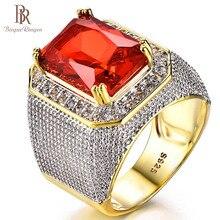 Bague ringen luxo 100% anel de prata esterlina com retângulo rubi pedra preciosa charme anel de prata masculino jóias festa presente atacado