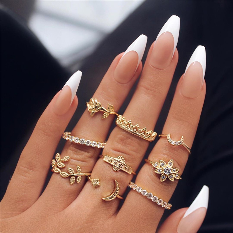 9Pcs/Set Gold Boho Style Leaf Rose Flower Moon Knuckle Rings For Women Hot Sale Midi Ring Sets Female Party Jewelry