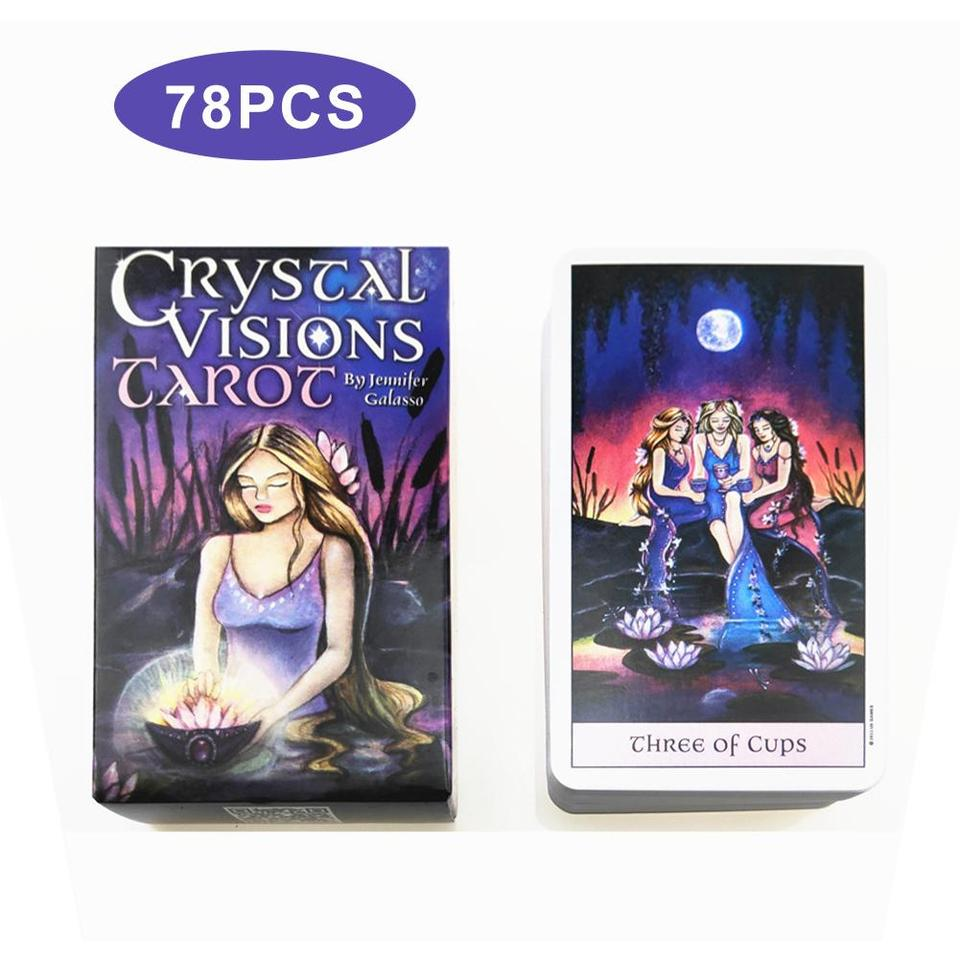 Chou Crystal Visions Tarot Full English 79 Cartes Deck Oracle Divination Fate Family Party Juego de mesa