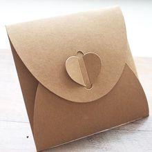 50pcs 13x13cm Heart Kraft  Paper Case Bag, Sleeves Discs DVD Packaging Bag B