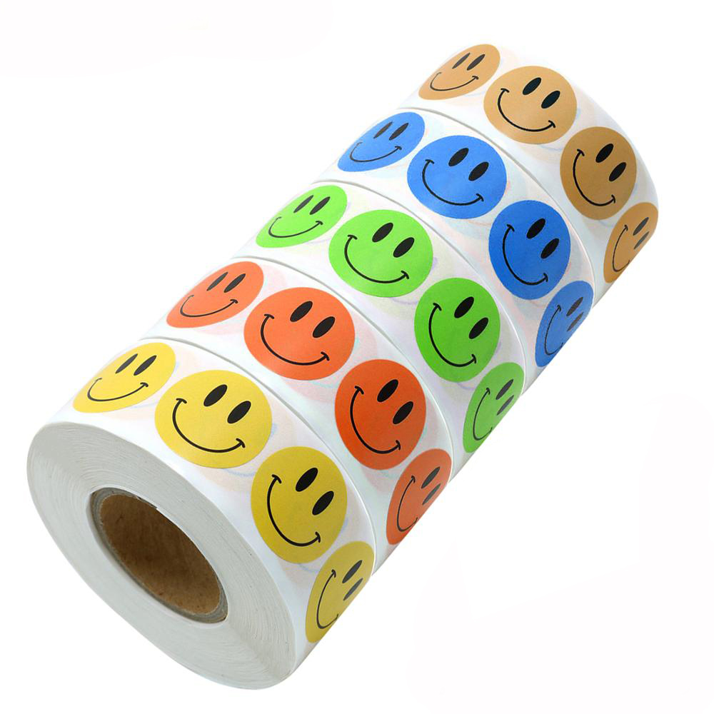 500Pcs/roll 5 Style Smiley Face Stickers Reward Stickers Yellow, Green, Orange, Blue, Brown Kids And Teachers Stationery Sticker