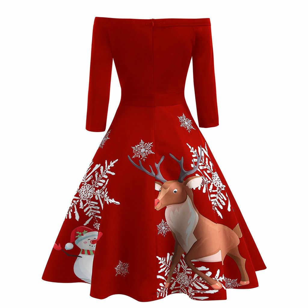Осенне-зимнее рождественское платье для женщин, новинка 2019, новогоднее платье с открытыми плечами и принтом снежинки и лося, винтажное вечернее расклешенное платье F814