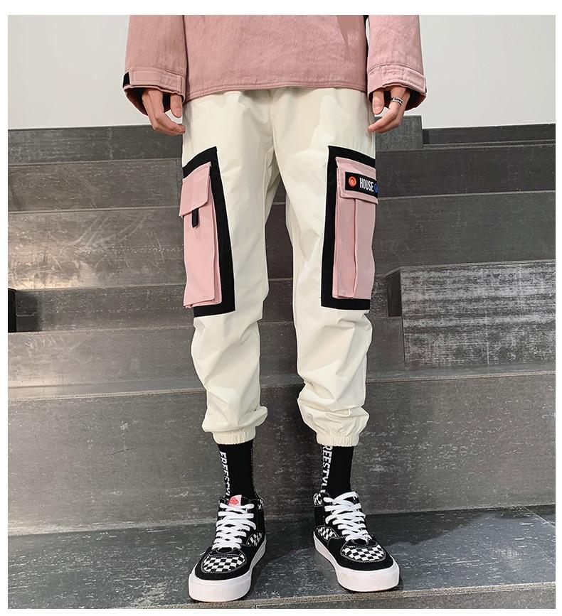 Streetwear Yellow Plaid Pants Men Joggers 2019 Man Casual Straight Harem Pants Men Korean Hip Hop Track Pants Plus Size