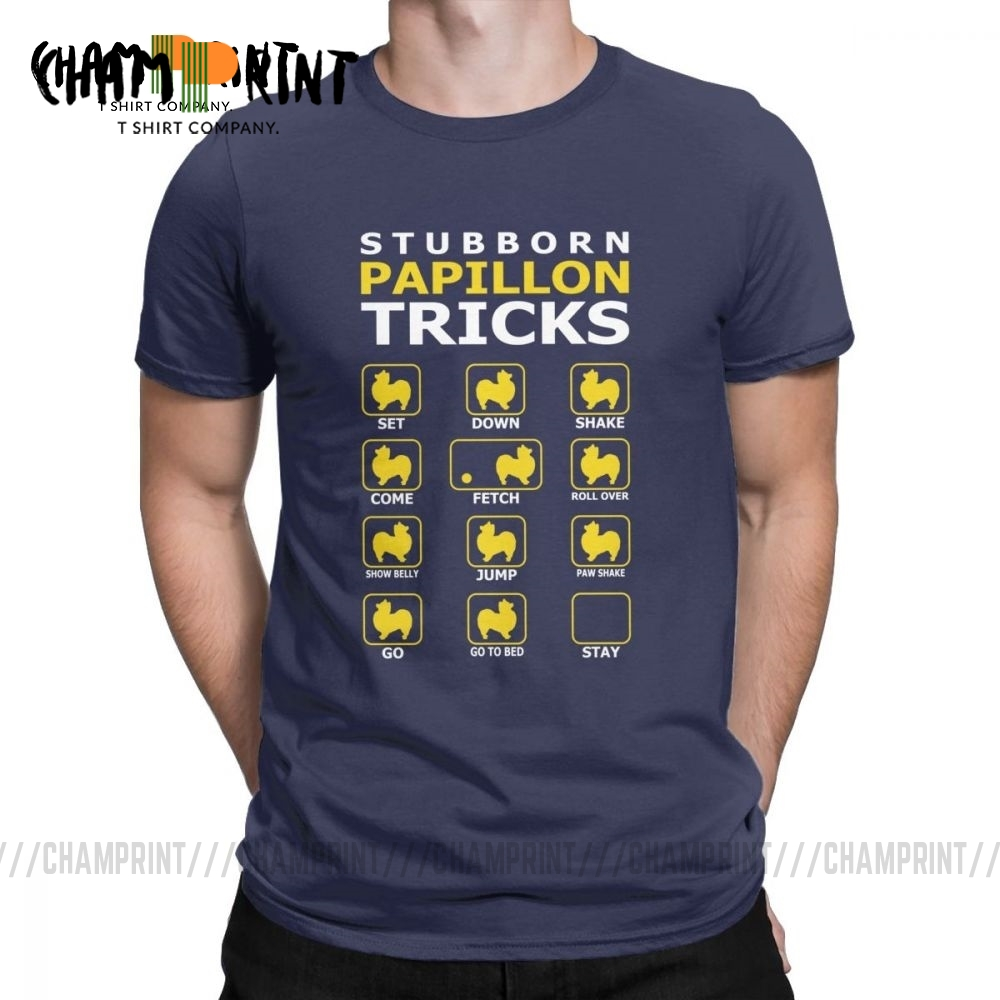 Men's Stubborn Papillon Dog Tricks Funny T-Shirt Vintage Crewneck Short Sleeve Clothes Cotton Tees Funny Graphic T Shirt