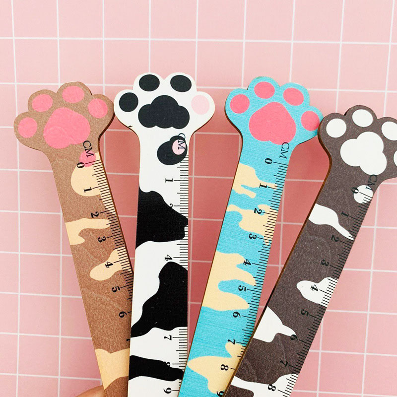 1PC Cute Cat Rulers 14cm Kawaii Paw Wooden Rulers For Kids Gift Measuring Tools School Office Supplies Stationery