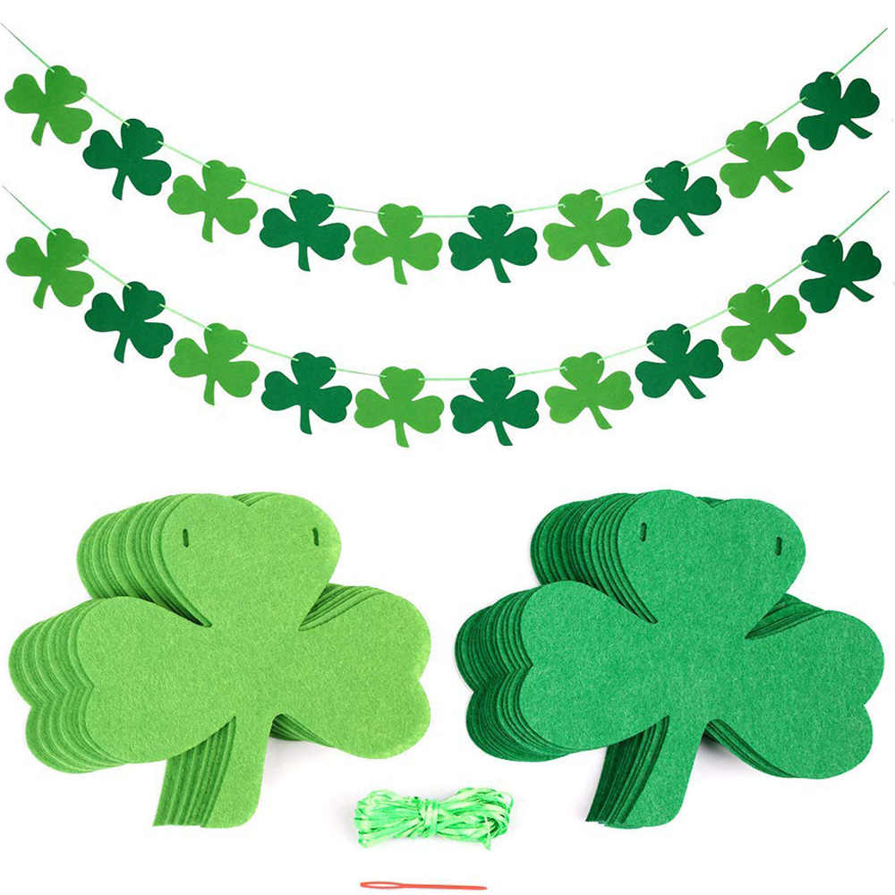 1pc Three Leaf Clover Banners Flag St Patricks Day Banner Glitter Ireland Shamrock Party Decoration Photo Props Aliexpress