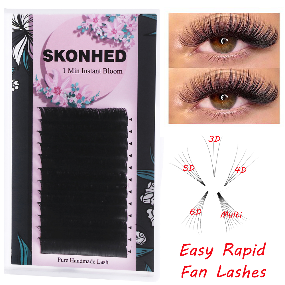12Lines Easy Fan Lashes Bloom Eyelash Extension Austomatic Flowering Fast Fan Self-Making Fans Volume Lashes 0.05/0.07mm Pestana