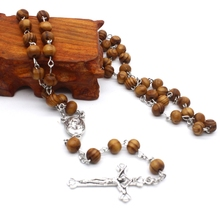 Retro Wooden Rosary Beads Necklace for Women Cross Jesus Pendant Religious Gifts