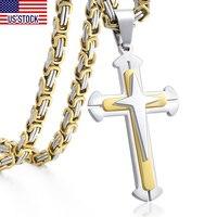 Collar con colgante de Cruz de acero inoxidable para hombre, cadena de 3 capas, Color dorado, negro y plateado, DDLKP179
