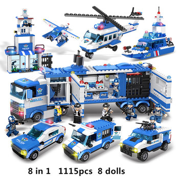 1115pcs 8IN1 SWAT City Police Truck Car Building Blocks Compatible Lepin City Police Station Bricks Toys for Boys Children bevle gudi 9316 city police series mobile police station model building blocks bricks model bricks gift for children city toys