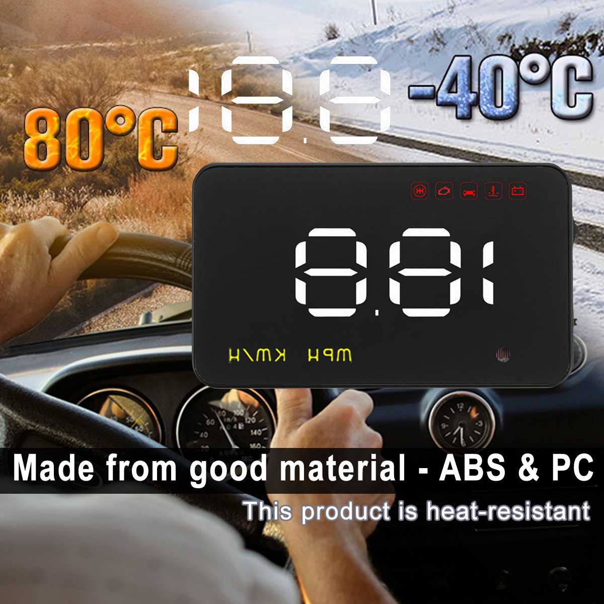 3.5 Inch Uinversal Digital Auto Car HUD Head Up Display LCD OBD2 Speedometer Overspeed Warning System A1000 Alarm Voltage