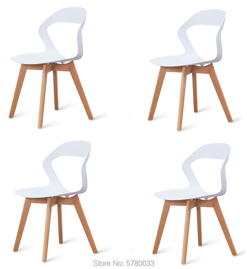 A Set Of 4 Nordic Medieval Modern Minimalist Chairs With Wood Feet,  Suitable For Living Room, Dining Room (White/Black/Brown))