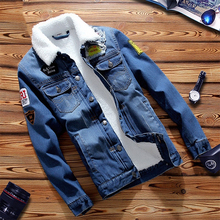 Куртка мужская джинсовая с меховой подкладкой, теплая Модная Повседневная Верхняя одежда для фитнеса, уличная одежда, жакет из денима, Осень зима 2020