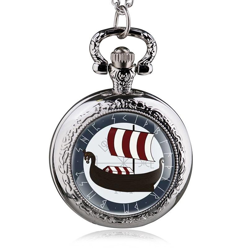 Vintage Vikings Ship Silver Quartz Pocket Watch Women Man Necklace Pendant With Chain Unisex Fob Watch Gifts Reloj De Bolsillo