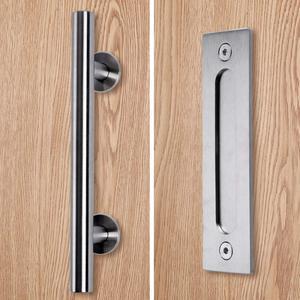 Image 3 - פחמן פלדה הזזה אסם דלת למשוך ידית עץ דלת ידית שחור ידיות דלתות הפנים ידית
