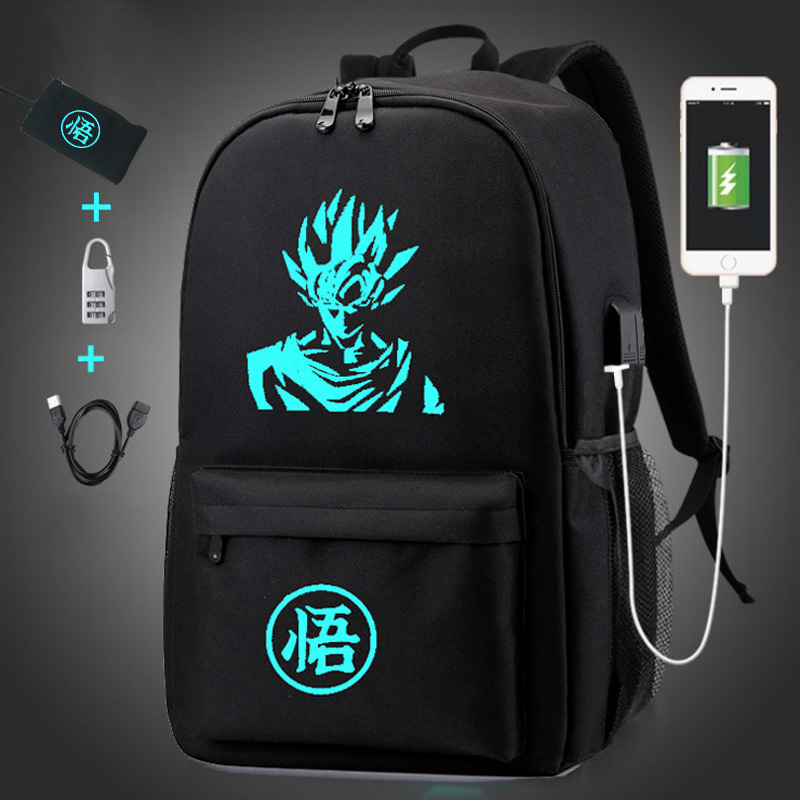 Computer Bag Middle School Students School Bag Men And Women Night Light USB Outdoor Backpack Korean-style Dragon Ball Goku Back