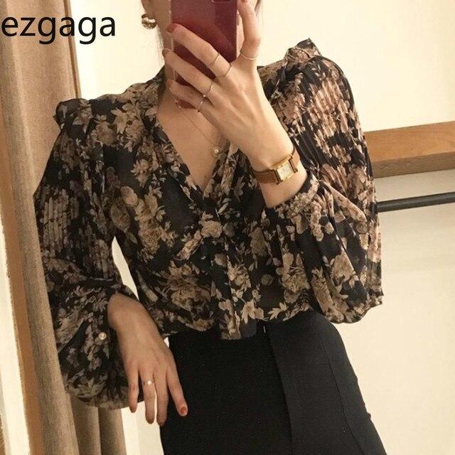 Ezgaga Blouse Women Korean Chic Sweet Lace Up V-Neck Floral Printed Long Lantern Sleeve Ruffles Ladies Shirts Fashion Blusas 1