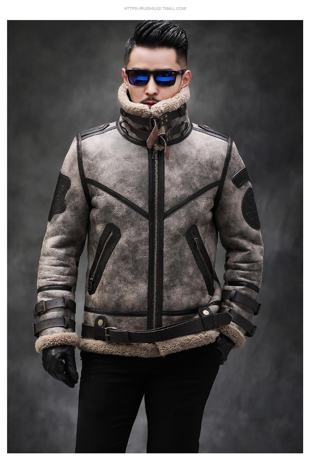 H09967ef979454e85b6abd855715728bcw 2019 Fashion 100% Quality Real Sheepskin Fur Men Coat Genuine Full Pelt Sheep Shearling Male Winter Jacket Brown Men Fur Outwear