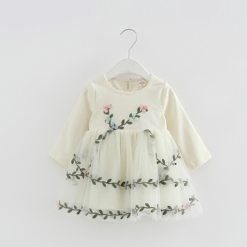 Baby Girl Lace Mesh Princess Dress Flowers Appliques Children Wedding Christening Dress For Kids Party Wear 8
