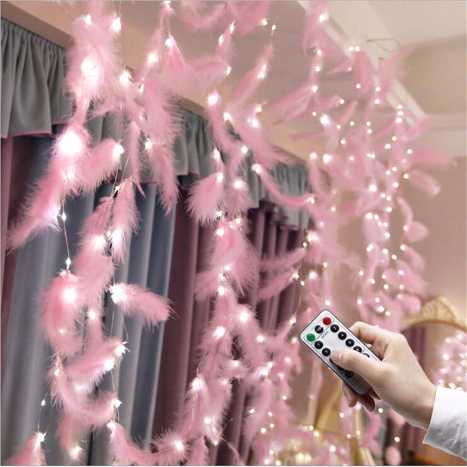 3X3M Led Strip Light Feather String light Fairy Curtain Copper Wire For  Christmas Decoration lamp