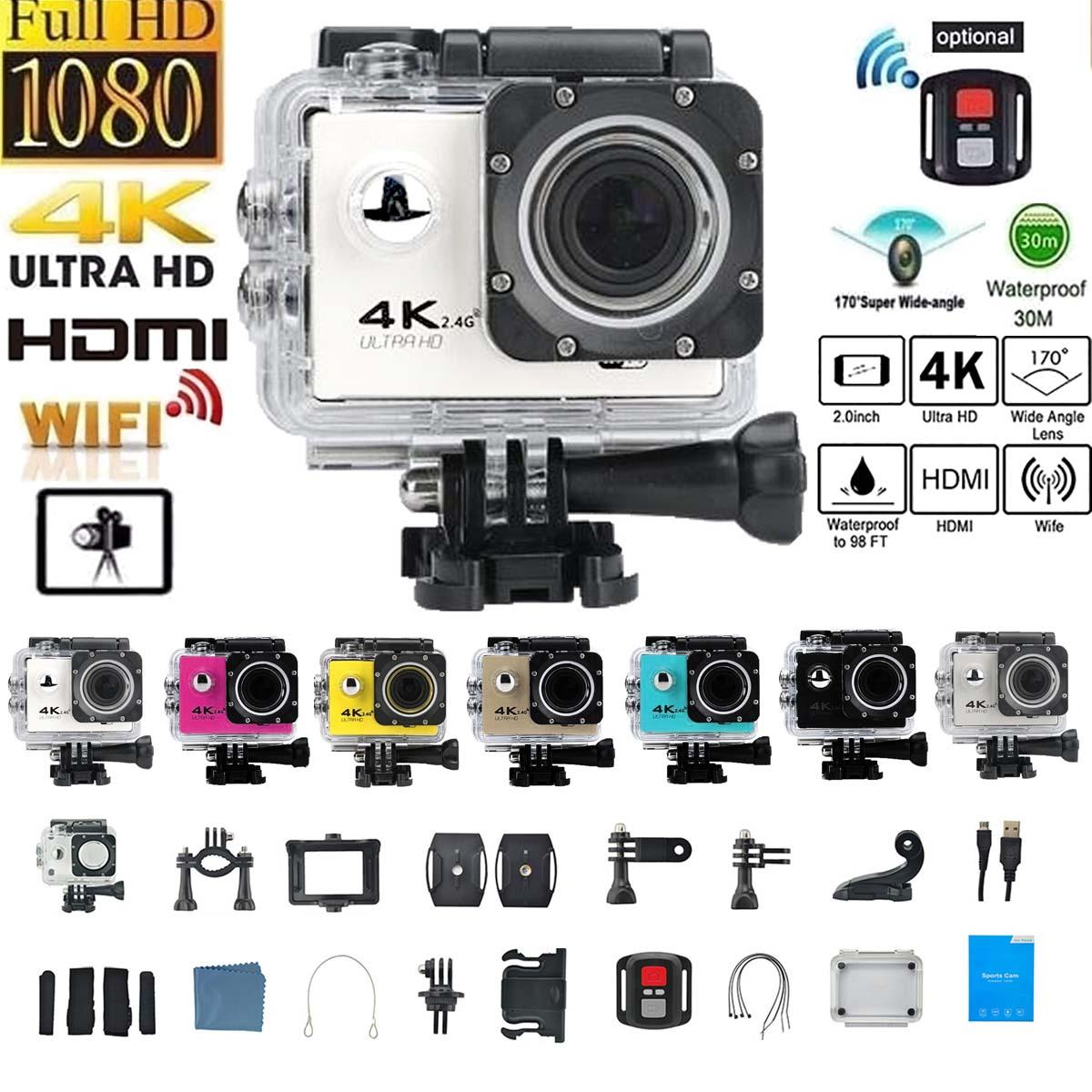 1200W Action Kamera 4K 30FPS Ultra HD WiFi 2,0 170D Unterwasser Wasserdichte Helm Video Kameras Gehen Extreme Pro sport Kamera