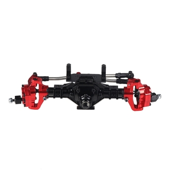 Aluminum CNC Anodized Full Front Portal Axle for 1/10 RC Crawler Car Axial SCX10 II 90046 90047 Upgrade Parts Black and Red