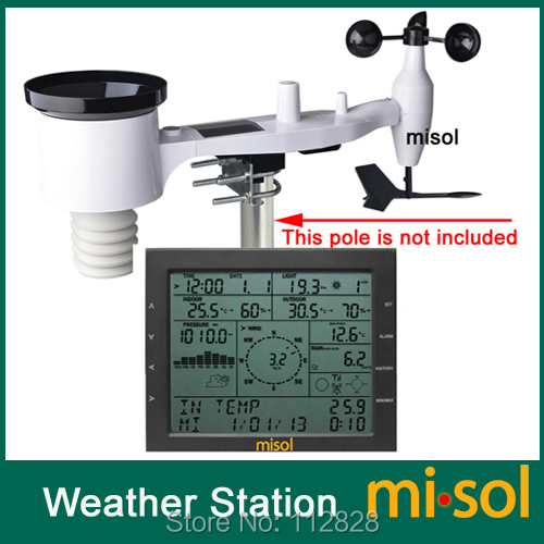 MISOL / professzionális meteorológiai állomás / szélsebesség szélirány esőmérő nyomás hőmérséklet páratartalom UV / napelemes töltéssel