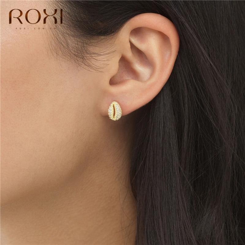 ROXI Fashion Cowrie Sea Shell Earrings Small Rainbow CZ Shell Stud Earrings For Women Boho Jewelry 925 Sterling Silver Earrings