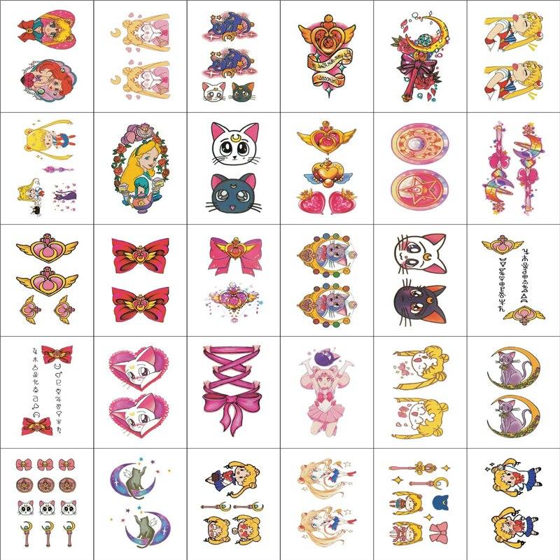 30 Pcs Sailor Moon Tattoo Sticker Cosplay Props Waterproof Girls Cute DIY Anime Stickers