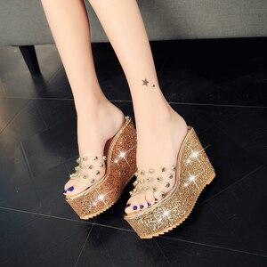Image 5 - Lucyever Women Sandals Rivets Transparent Peep Toe High Heels Sandals Fashion Ladies Glitter Platform Wedges Summer Slides