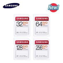 Original SAMSUNG EVO Plus de tarjeta SD de 32GB 64GB U1 128GB 256GB U3 Max 100 MB/s lectura nueva tarjeta de memoria Flash, SDHC SDXC para cámara