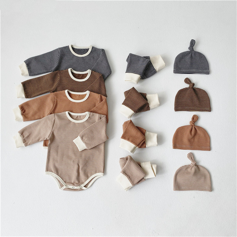 Newborn Baby Sleepwear Baby Pajamas Set Romper +Pants +Hat 3Pcs Baby Clothes Set Overalls Girl Baby Boy Nightwear Outfits