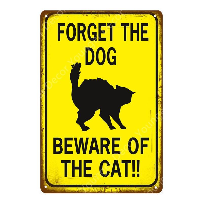 signe//AD Avertissement oublier le chien Méfiez-vous de la femme Rétro Plaque Métal: