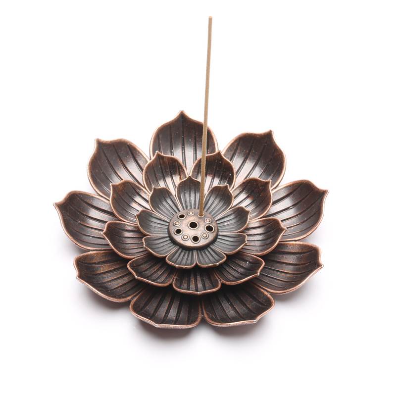 Simple And Elegant Lotus Incense Burning Plate Copper Alloy 5 Hole Slot Ash Tray Aesthetic Design