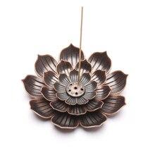 Placa de queima de incenso de lótus simples e elegante liga de cobre 5 buraco slot cinza bandeja design estético