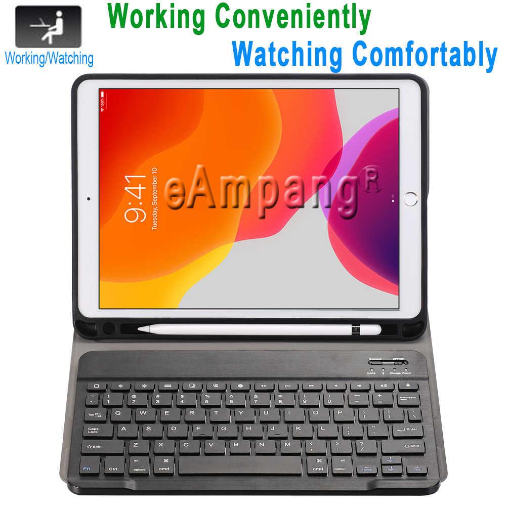 حافظة لجهاز iPad 10.2 حافظة لوحة المفاتيح مع حامل القلم الرصاص لجهاز Apple iPad 7 7th من الجيل A2197 A2198 لوحة المفاتيح الروسية الإسبانية الإنجليزية