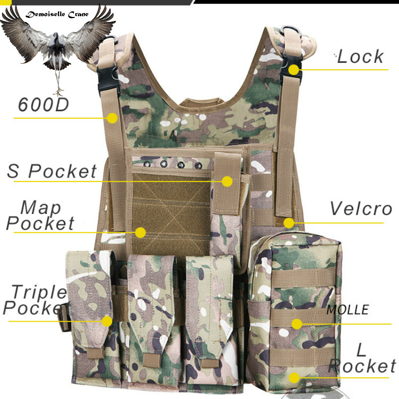 Tactical Molle Plate Carrier Vest Swat Battle Airsoft Combat Assault Hunting Rig