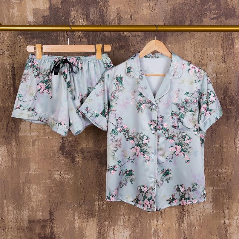 Youhottest  New Design Top Quality Short Sleeves Short Pants Silk Pajamas Sleepwear