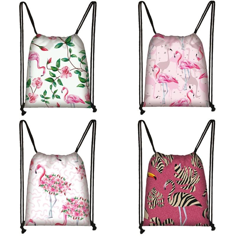 Cartoon Flamingo Print Drawstring Bag Women Travel Bag Teenager School Bag Brown Girl And Boy Backpack Fashion Storage Bags M574