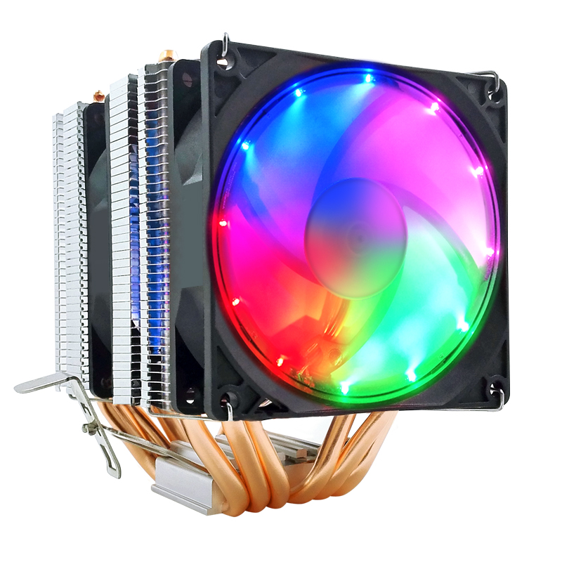 <font><b>CPU</b></font> <font><b>Cooler</b></font> 4Pin PWM Pure 6 Copper Pipes blue red colorful work quiet for Intel Lga2011-2066-X99-X299 <font><b>CPU</b></font> Cooling Fan image