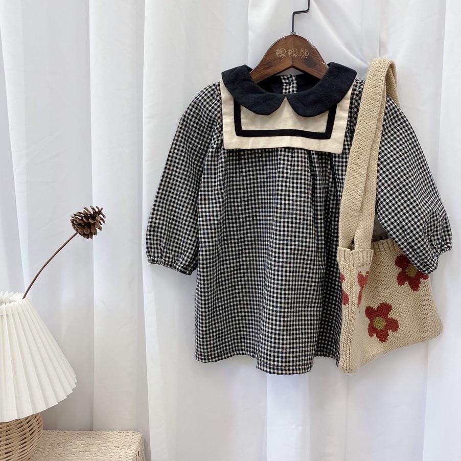 2021 Spring New Arrival Girls Long Sleeve Plaid Dress Kids Korean Design Cotton Dresses  Kids Clothes 1