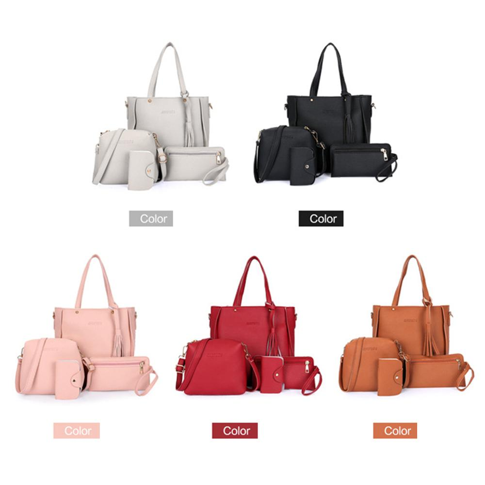 4Pcs/Set Fashion Women Bags PU Large Capacity Purse Handbag Wallets Coin Card Package Ladies Shoulder Bag