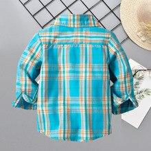 Весна-Осень, стиль, подушки из чистого хлопка в клетку, рубашка для мальчиков, детский топ, простая детская рубашка, корейский стиль, хлопок
