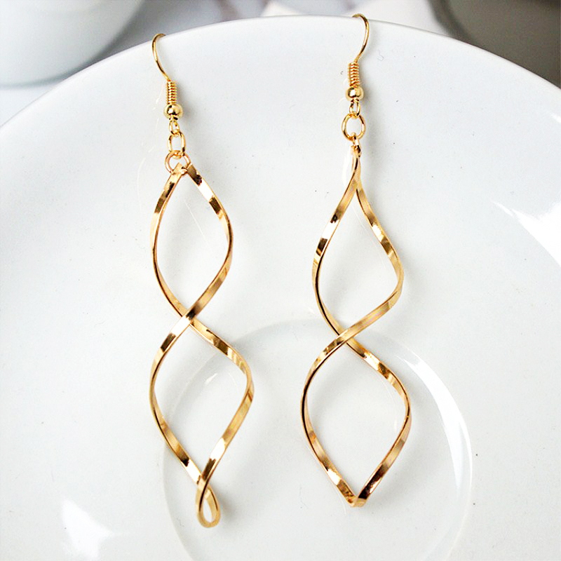 H09976673223e4afb8f2d30e267cf7341U - New Simple Spiral Curved Long Drop Earrings for Women Wave Design Fashion Female Jewelry Wholesale Party Wedding Earring