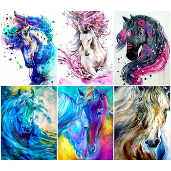 HUACAN 5D DIY Diamond Painting Colorful Horse Full Square Art Mosaic Animal Picture Embroidery Rhinestone Home Decor - discount item  32% OFF Arts,Crafts & Sewing