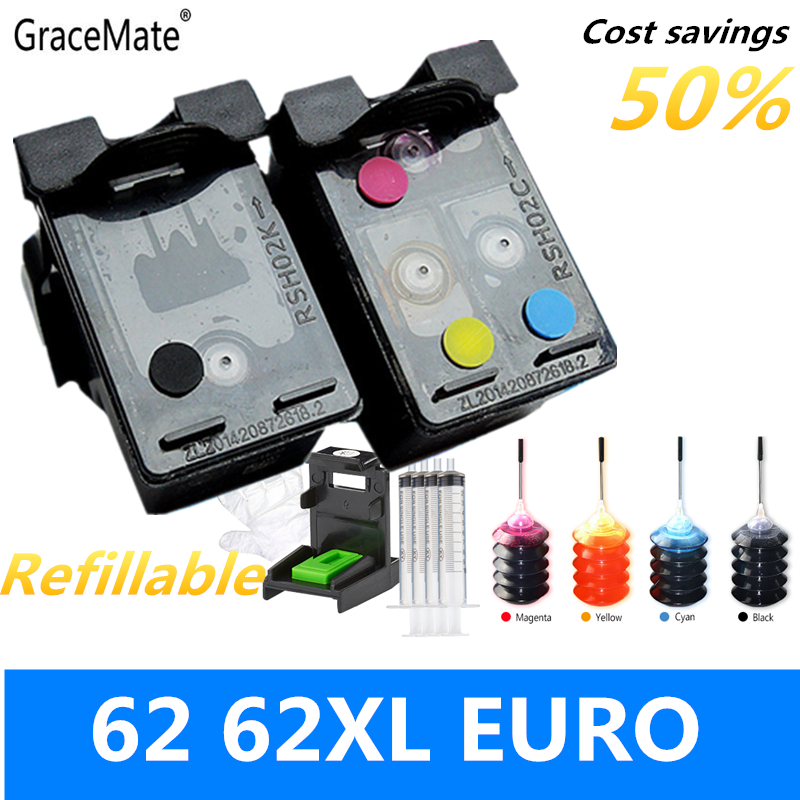 GraceMate 62 XLPopular ES FR CA многоразовый чернильный картридж совместимый для HP Envy 5640 OfficeJet 200 5540 5740 5542 7640 принтеров