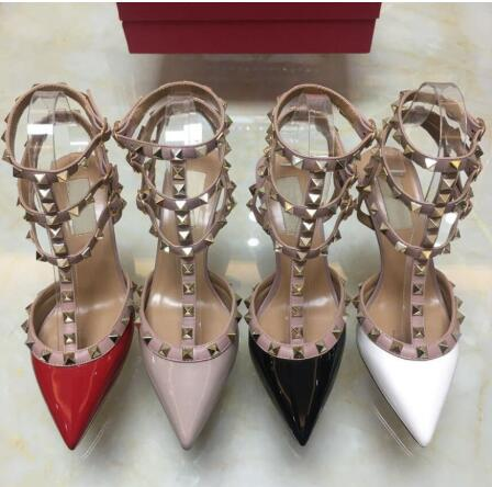 Pumps Women Heel Wedding-Shoes Sexy Real-Leather Square Red with 8cm/10cm Buckle-Drill