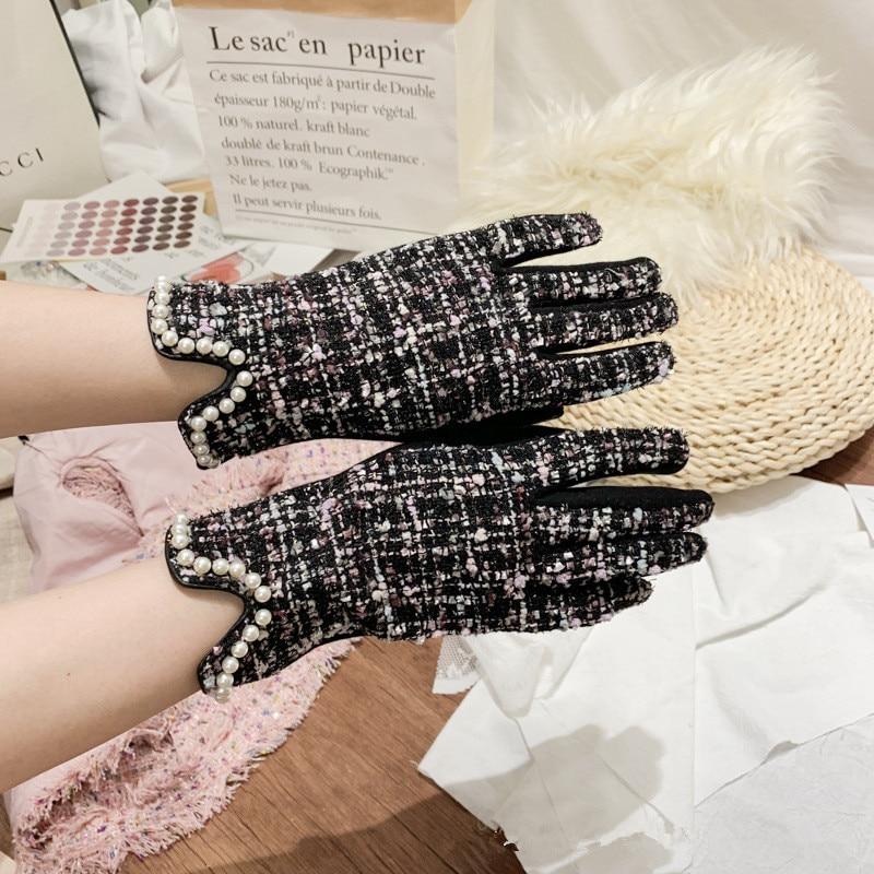 Brand Women's Winter Plus Velvet Thicken Warm Touch Screen Gloves Elegant Pearl Full Finger Cycling Driving Gloves