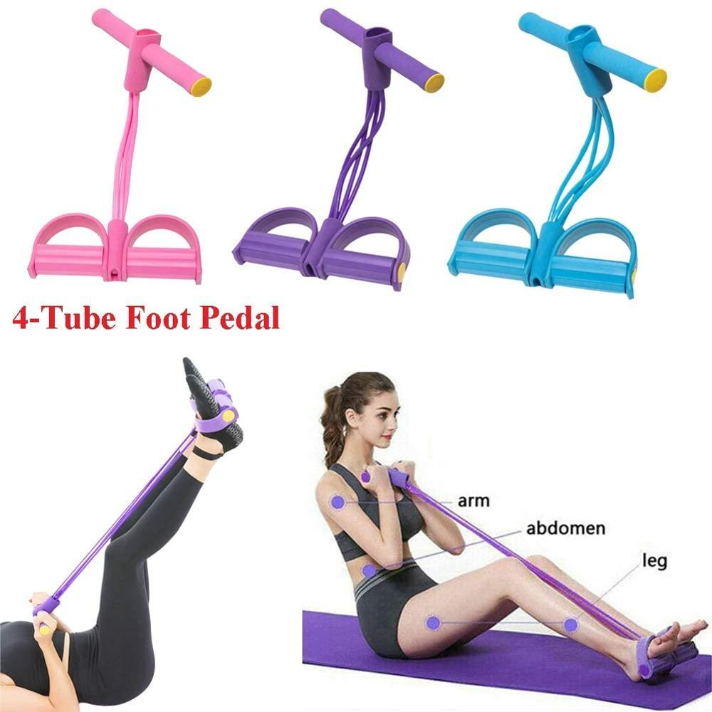 <font><b>4</b></font> <font><b>Tubes</b></font> <font><b>Fitness</b></font> Sit-up Exercise Equipment Resistance Bands, Multifunctional Pedal Leg Tensioner Premium Tension <font><b>Rope</b></font> Foot Chest image